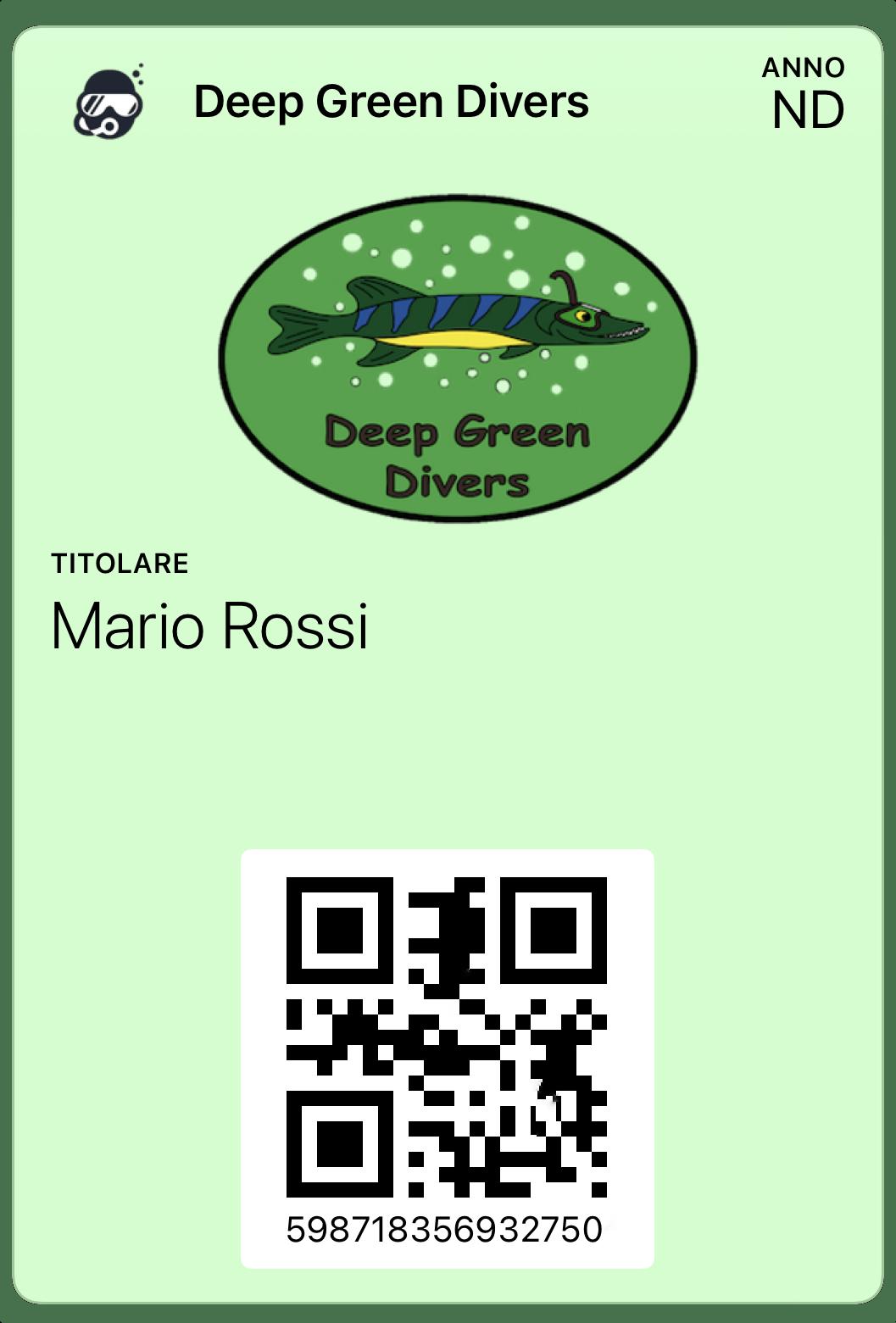 Deep Green Divers tessera Wallyfor